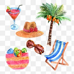 Summer Travel Theme Watercolor Pictures - Watercolor Painting Royalty-free Travel Illustration PNG
