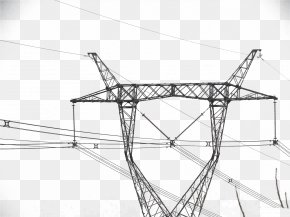 High Voltage Wire - High Voltage Electric Power Distribution Overhead Power Line PNG