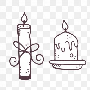 Vector Black And White Hand-drawn Cartoon Candle - Drawing Black And White Candle PNG