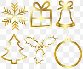 Christmas Gold Elements Clip Art Image - Christmas Chemical Element Clip Art PNG