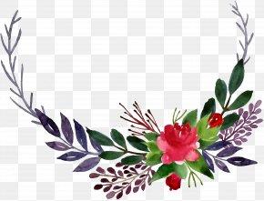 Watercolor Corner Flower Leaves - Floral Design Watercolor Painting Flower PNG