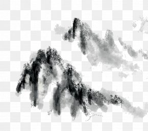 Chinese Ink Painting Mountains - Ink Wash Painting Black And White Wallpaper PNG
