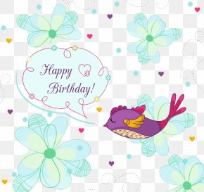 Painting Flowers And Birds Birthday Card Vector Material - Wedding Invitation Birthday Cake Greeting Card PNG
