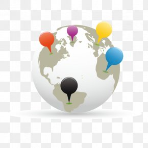 Technology To Contact The World - Globe World Map Paper Pin PNG