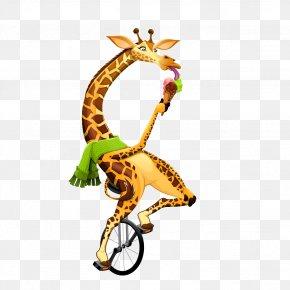 Vector Cartoon Giraffe Creative Juggling - Cartoon Funny Animal Illustration PNG