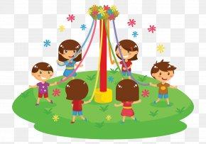 Festive Background - Maypole Cartoon Child Clip Art PNG
