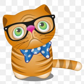 Bespectacled Cat - Cat Kitten Dog Cartoon PNG