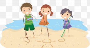 Cartoon Style Seaside Child Pattern - Drawing Photography Illustration PNG