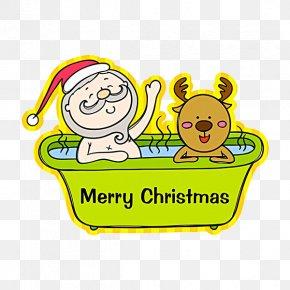 Santa Claus In Bath - Rudolph Towel Santa Claus Clip Art PNG