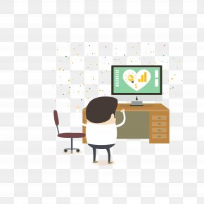 Vector Color Watching TV Boy - Business Illustration PNG