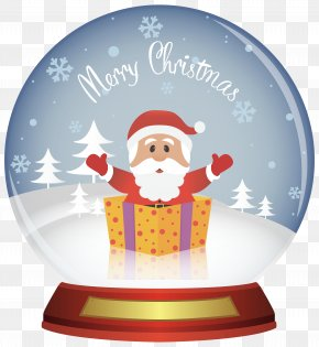 Santa Christmas Snowglobe Clipart Image - Snow Globe Christmas Santa Claus Clip Art PNG