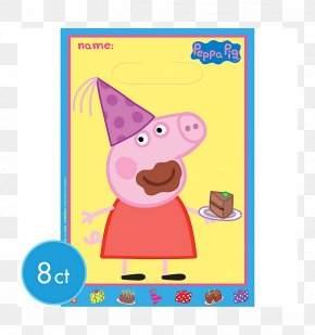 Peppa - Party Favor Daddy Pig Balloon Bag PNG