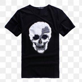 Black Skull Print T-shirt - Printed T-shirt Sleeve Designer PNG