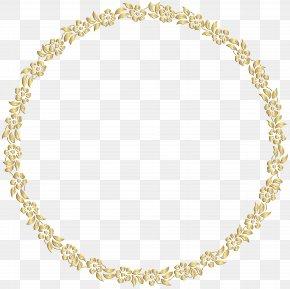 Golden Round Floral Border Transparent Clip Art Image - Picture Frame Gold Mirror Clip Art PNG
