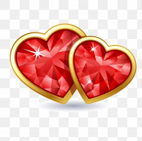 Realistic Gold-red Diamonds - Heart Valentine's Day Stock Photography Clip Art PNG