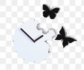 Clock - Clock Butterfly Watch Wall PNG