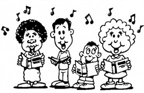Black Sing Cliparts - Singing Choir Black And White Song Clip Art PNG