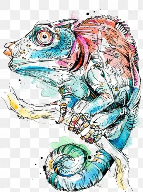 Watercolor Chameleon - Paper Watercolor Painting Watercolour Techniques Drawing PNG