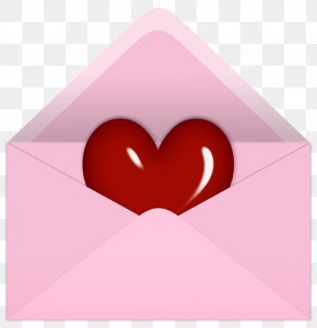 Pink Valentine Letter With Red Heart PNG Clipart Picture - Valentine's Day Letter Clip Art PNG
