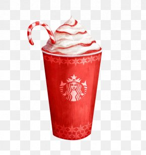 Red Ice Cream - Coffee Hot Chocolate Candy Cane Cafe Starbucks PNG