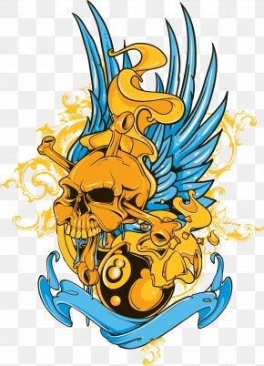 Blue Wings Skull Print - Printed T-shirt Top Designer Clothing PNG