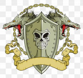 Skull Shield Vector - Shield Dragon Illustration PNG