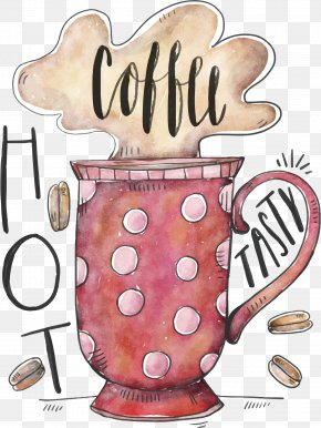 Vector Mug - Coffee Cup Doughnut Cafe Watercolor Painting PNG