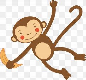 Cartoon,letter,animal,star - Monkey Cartoon Illustration PNG