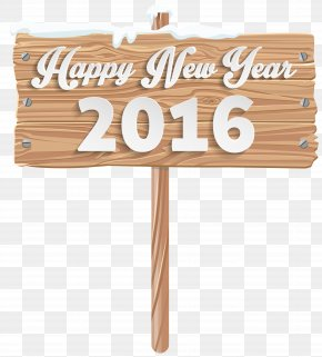 Happy New Year Wooden Sign Clipart Image - Christmas Sign Snowflake Clip Art PNG