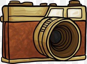 Brown Retro Hand-painted Camera - Digital Cameras Clip Art PNG