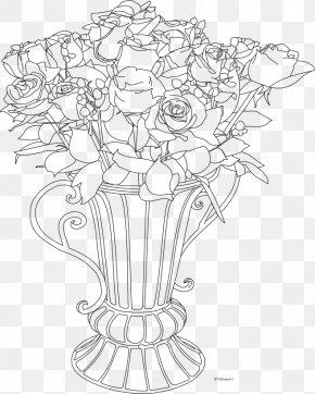 Rose Flower Pots - Drawing Flowerpot Vase Art Sketch PNG