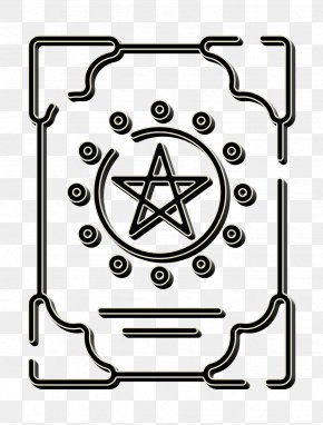 Line Art Witchcraft Icon - Book Icon Halloween Icon Magic Icon PNG