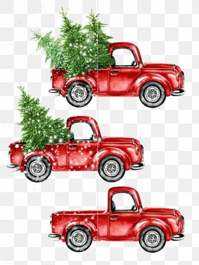 Cartoon Car - Car Watercolor Painting Christmas PNG