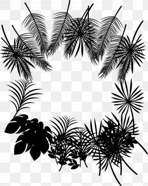 M - Palm Trees Leaf Clip Art Black & White PNG