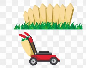 Fence And Grass Lawn Mower - Garden Tool Gardening PNG
