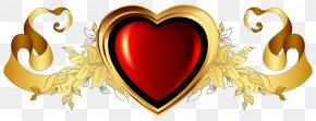 Large Red Heart With Gold Banner Element Clipart - Heart Gold Clip Art PNG