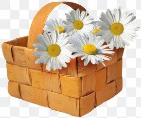 Large Transparent Basket With Daisies Clipart - Basket Clip Art PNG