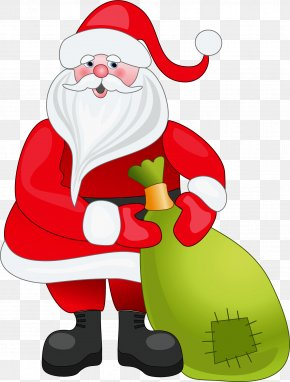Santa Claus With Green Bag Clipart - Santa Claus Christmas Clip Art PNG