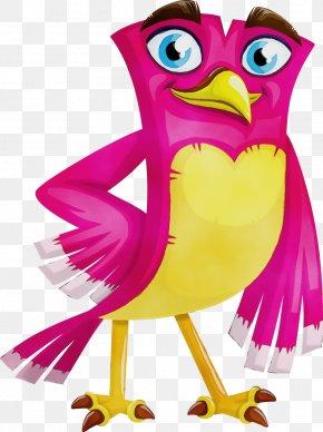Animal Figure Bird Of Prey - Cartoon Bird Pink Clip Art Owl PNG