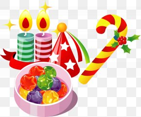 Christmas Candy Candle Pendant - Christmas ICO Party Icon PNG