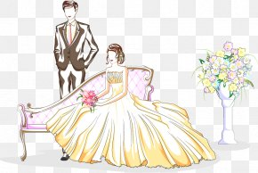 Valentines Day Painted The Bride And Groom - Marriage Cartoon Wedding Illustration PNG