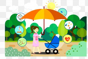 Mom Push Doll Car - Child Care Mother Illustration PNG