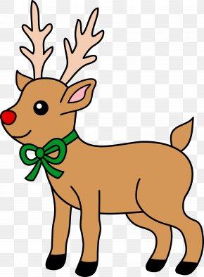 Reindeer Cliparts Atlers - Rudolph Santa Clauss Reindeer Christmas Clip Art PNG