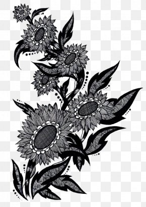 Chinese Art Deco Style Black And White Sunflowers Figure - Black And White Chinoiserie Decorative Arts PNG