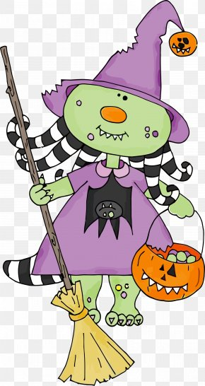 Household Cleaning Supply Cartoon - Little Witch Pumpkin Broom PNG