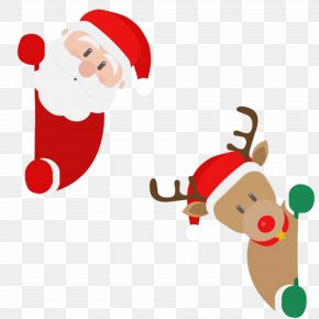 Cartoon Christmas Santa And Deer - Santa Claus's Reindeer Christmas Santa Claus's Reindeer PNG