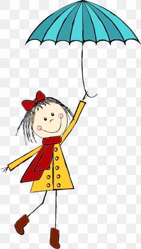 Smile Child Art - Umbrella Cartoon Happy Line Child Art PNG