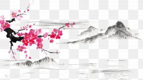 Ink Plum Vector Material Plum Snow - Japanese Art Ink Wash Painting Japanese Painting Cherry Blossom PNG