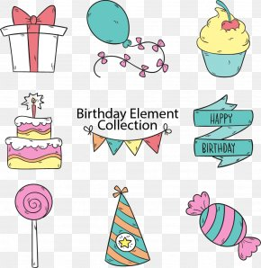 Vector Hand-drawn Cartoon Birthday Party - Birthday Cake Party Clip Art PNG