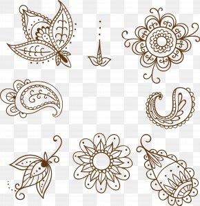 Hand-painted Style Henna Tattoo - Henna Mehndi Tattoo Pattern PNG